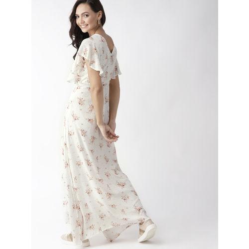 Mast & Harbour Women Off-White & Peach-Coloured Printed Maxi Dress