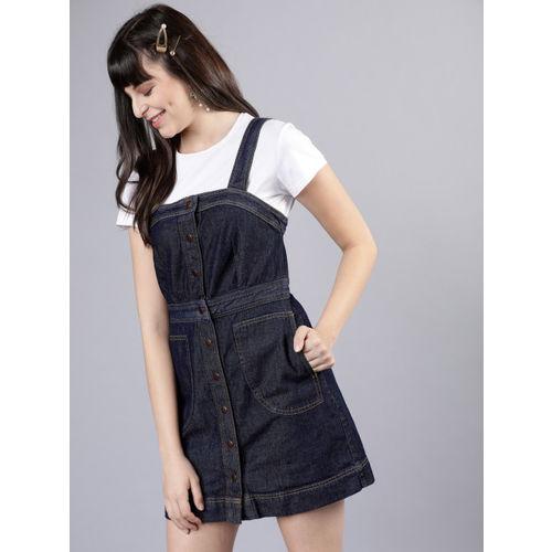 Tokyo Talkies Women Navy Blue Solid Denim A-Line Dress