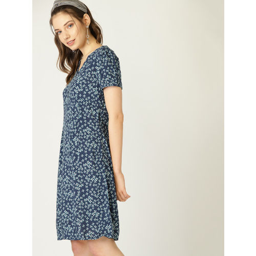 ESPRIT Women Navy Blue & White Printed A-Line Dress