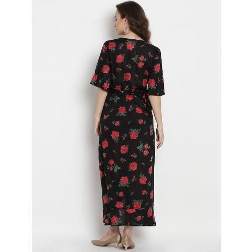 Mine4Nine Women Black & Red Printed Maternity Maxi Dress