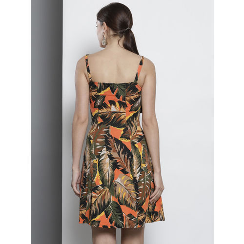 DOROTHY PERKINS Women Orange & Brown Printed A-Line Dress