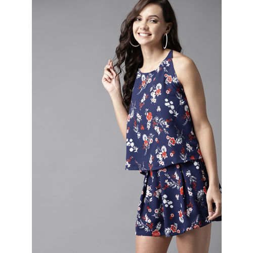 HERE&NOW Women Navy Blue & White Printed Two-Piece Dress