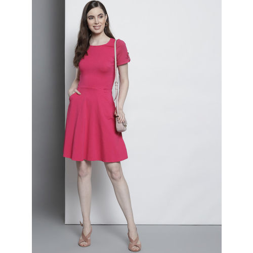 DOROTHY PERKINS Women Pink Solid Fit & Flare Dress