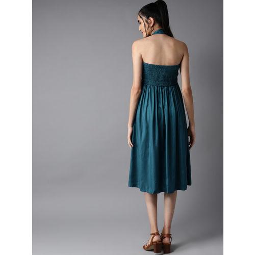 Moda Rapido Women Teal Blue Solid A-Line Dress