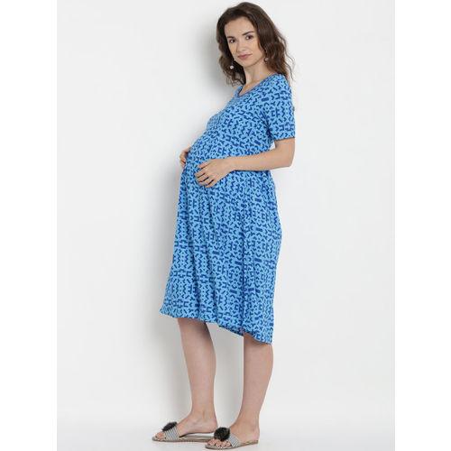 Mine4Nine Women Blue Printed Maternity A-Line Dress