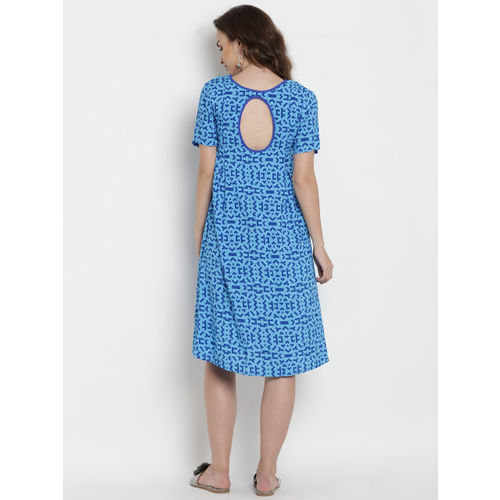 Mine4Nine Women Blue Printed Maternity A-Line Dress