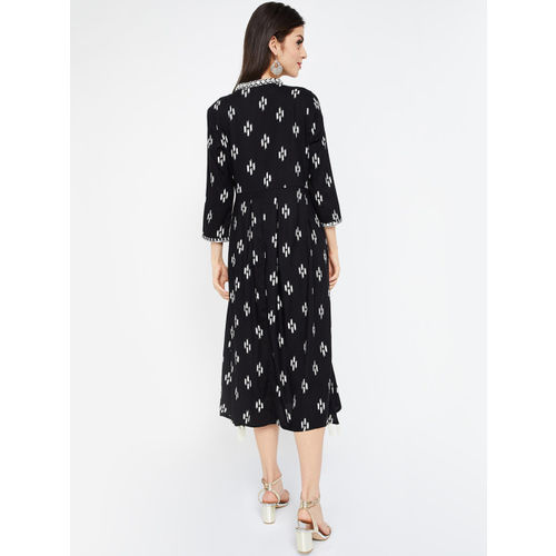 Colour Me by Melange Women Black & White Fit and Flare Dress