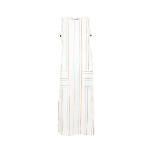 Marks & Spencer Women White & Coral-Coloured A-Line Dress