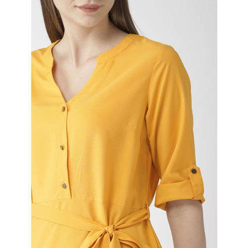 Mast & Harbour Women Mustard Yellow Solid Sheath Dress