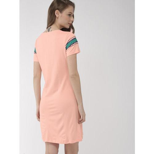 Mast & Harbour Women Peach-Coloured Solid T-shirt Dress