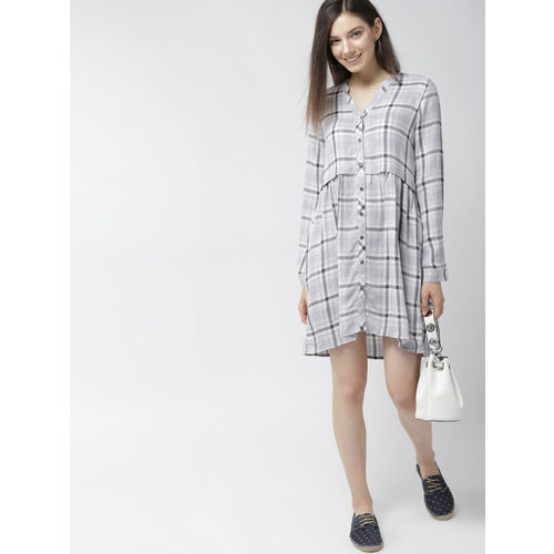 Mast & Harbour Women Grey Checked A-Line Dress