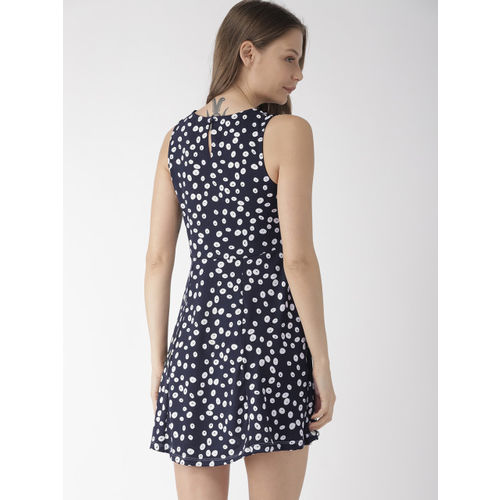 Mast & Harbour Women Navy Blue & White Fit and Flare Dress