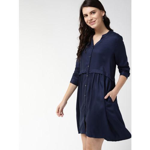 Mast & Harbour Women Navy Blue A-Line Dress