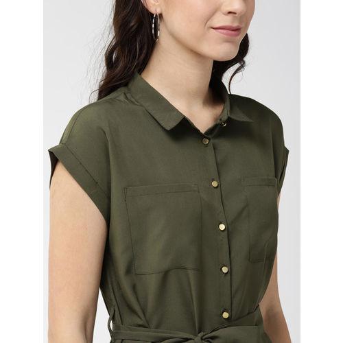 Mast & Harbour Women Olive Green Solid Shirt Dress