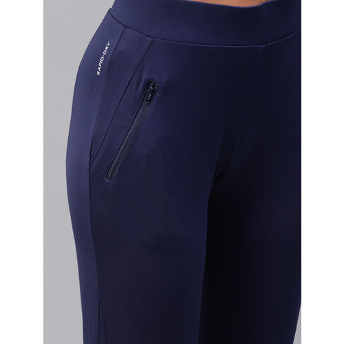 HRX by Hrithik Roshan Women Blue Solid Rapid-Dry Skinny Fit Running Tights