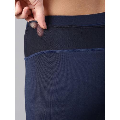 HRX by Hrithik Roshan Women Navy Blue Solid Training Tights
