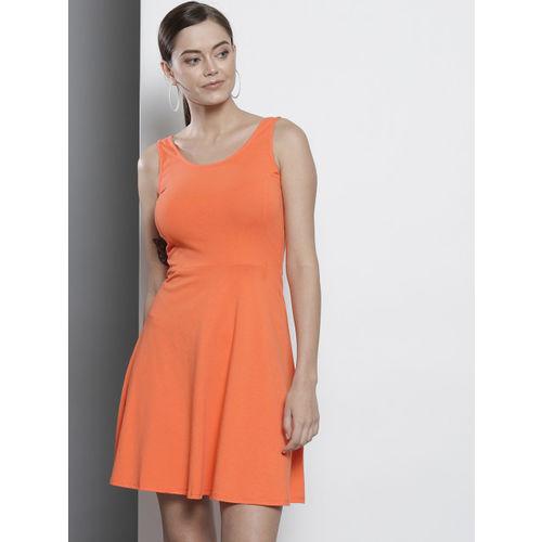 DOROTHY PERKINS Women Orange Solid Fit & Flare Dress