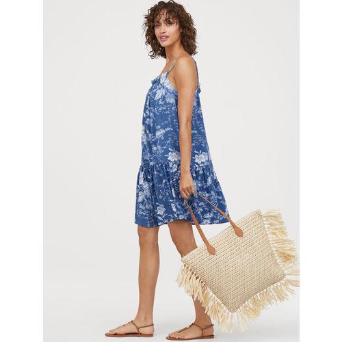 H&M Women Blue Printed Flounced Dress