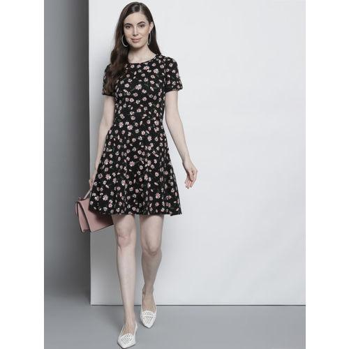 DOROTHY PERKINS Women Black & White Floral Print Fit & Flare Dress