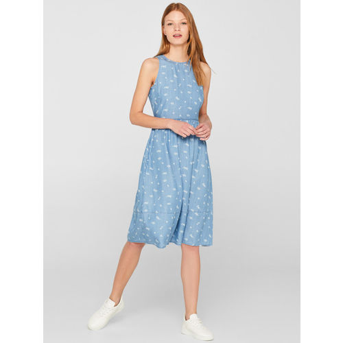 ESPRIT Women Blue & White Printed Chambray Fit & Flare Dress