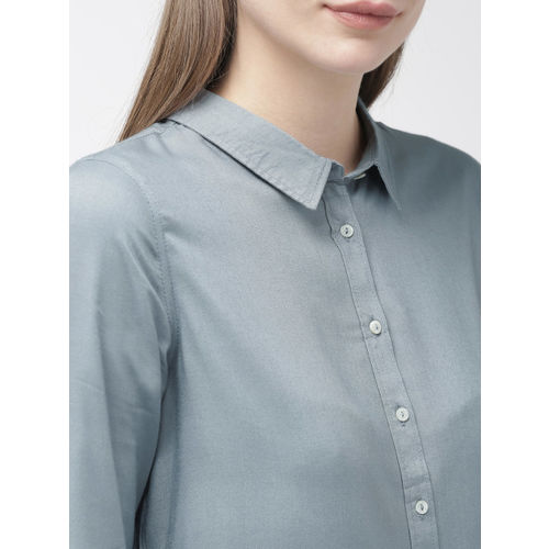 Mast & Harbour Women Blue Regular Fit Solid Casual Shirt