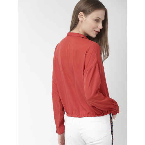 Mast & Harbour Women Red Regular Fit Solid Casual Shirt