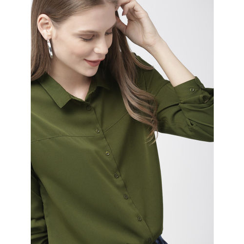 Mast & Harbour Women Olive Green Regular Fit Solid Casual Shirt