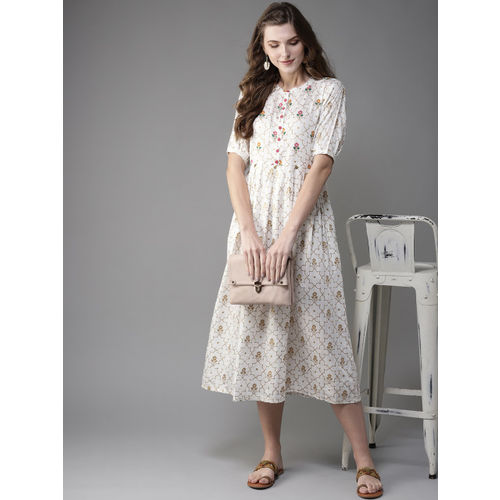 Moda Rapido Women White & Golden Printed Fit & Flare Dress