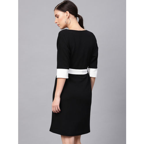 Femella Women Black & White Solid Sheath Dress