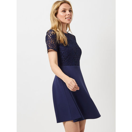 DOROTHY PERKINS Women Navy Blue Lace Detail Fit and Flare Dress