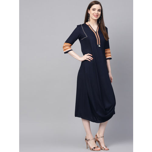 W Women Navy Blue Solid A-Line Layered Dress