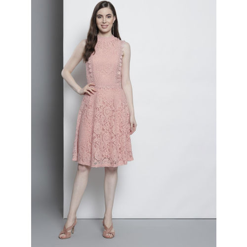 DOROTHY PERKINS Women Peach-Coloured Lace Fit & Flare Dress