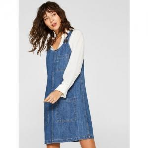 ESPRIT Women Blue Solid Denim Pinafore Dress