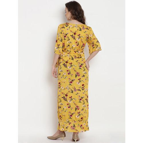 Mine4Nine Women Yellow Printed Maternity Wrap Dress