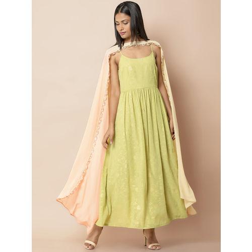 INDYA Women Green Printed Layered Maxi Dress