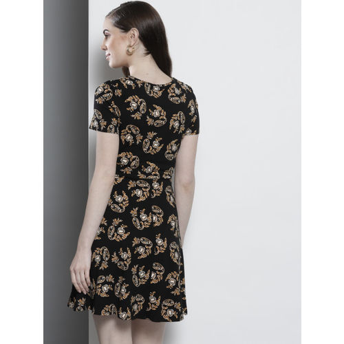 DOROTHY PERKINS Women Black & Mustard Yellow Printed Fit & Flare Dress