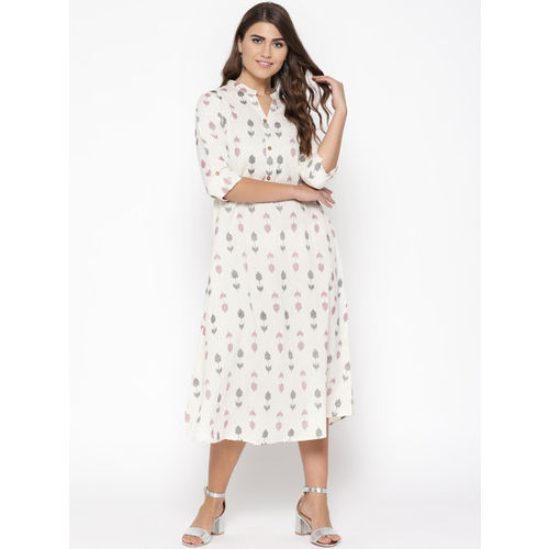 Sringam Women Off-White & Black Printed A-Line Dress