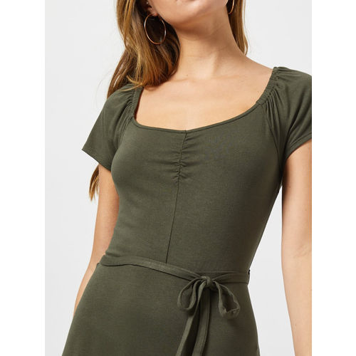 DOROTHY PERKINS Women Olive Green A-Line Dress