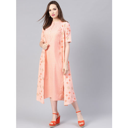 Libas Women Peach-Coloured & Golden A-Line Dress with Ethnic Jacket