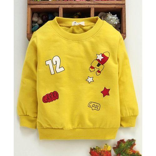 Kookie Kids Full Sleeves Tee Rocket Print - Yellow