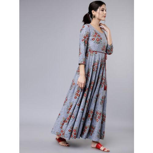 Vishudh Women Grey & Red Printed Maxi Dress