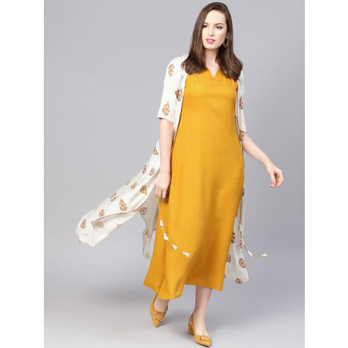 Libas Women Mustard Yellow & Off-White Solid Maxi Dress with Ethnic Jacket