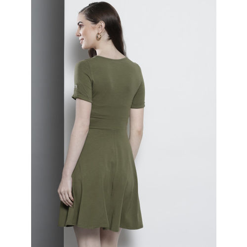 DOROTHY PERKINS Women Olive Green Solid Fit & Flare Dress