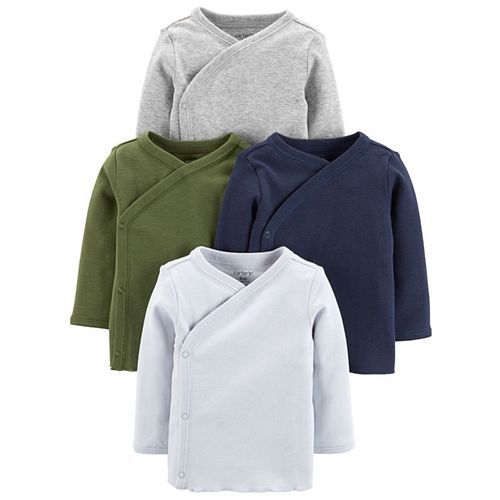 Carter's 4-Pack Side-Snap Tees - Grey Blue Green