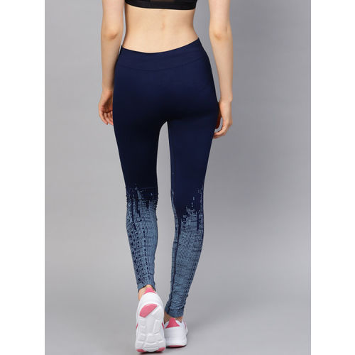 HRX by Hrithik Roshan Women Blue Printed Rapid Dry Seamless Running Tights
