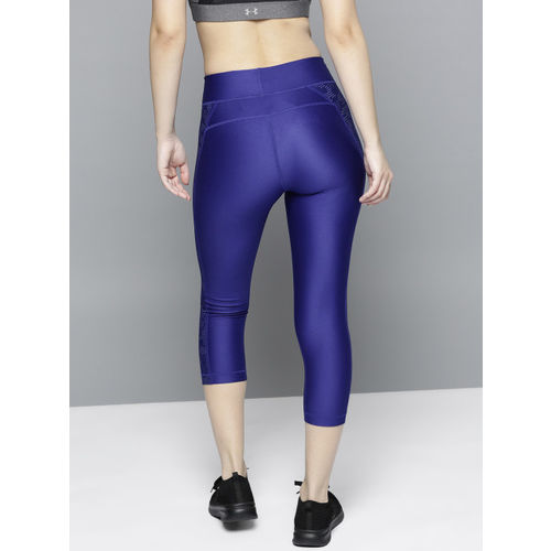 UNDER ARMOUR Women Blue Solid Novelty Q2 Crop Tights