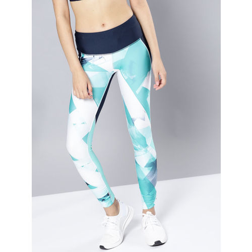 UNDER ARMOUR Women Blue & White Printed Fly Fast Tights