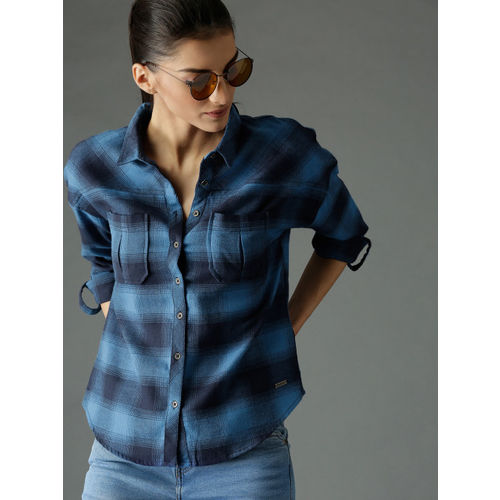 Roadster Women Blue Boxy Fit Checked Shirt with Yoke