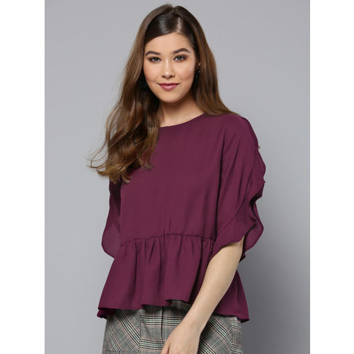 Harpa Women Wine-Coloured Solid A-Line Top