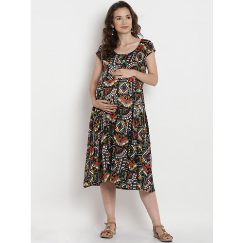 Mine4Nine Women Multicoloured Printed Maternity A-Line Dress